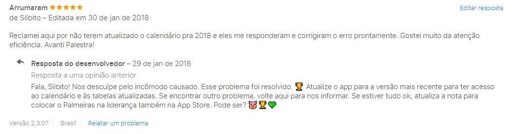Exemplo de comentário revertido na App Store, em trabalho que realizei com o app do Palmeiras. Essa prática ajuda a aumentar os resultados de ASO