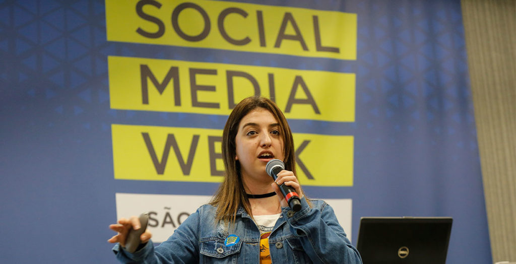 Stephanie Espindola, do Conteúdo Digital, fez sua palestra no Social Media Week SP 2018. Foto: Divulgação / SMW São Paulo 2018