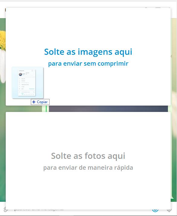 O Telegram permite escolher entre enviar fotos e vídeos sem compressão (mantendo a qualidade original) ou com compressão (reduzindo um pouco a qualidade para diminuir o tamanho do arquivo)